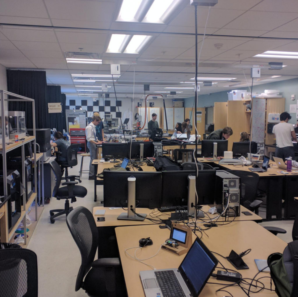 Photo of Small Hall Makerspace with students working on project individually.